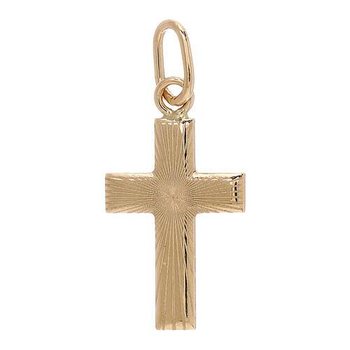 Pendente croce raggi satinati oro 18 kt 0,7 gr 1