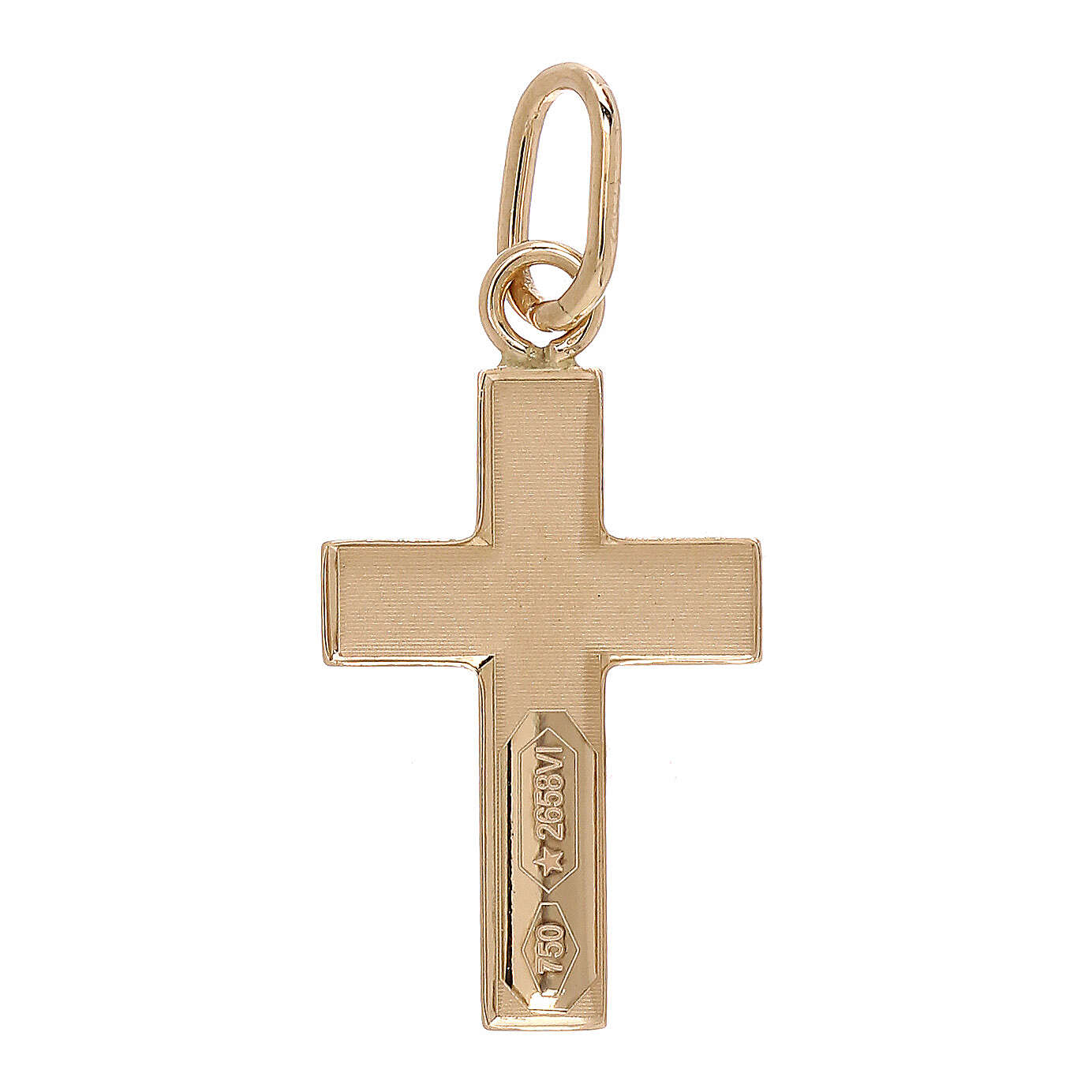 Cross pendant satin-finished rays 18-carat gold 0.7 gr 4