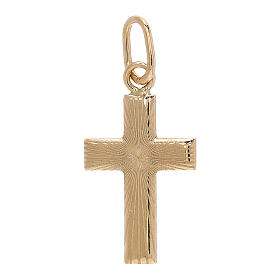 Cross pendant satin-finished rays 18-carat gold 0.7 gr s1