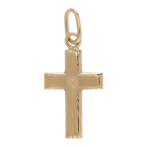 Cross pendant satin-finished rays 18-carat gold 0.7 gr 1