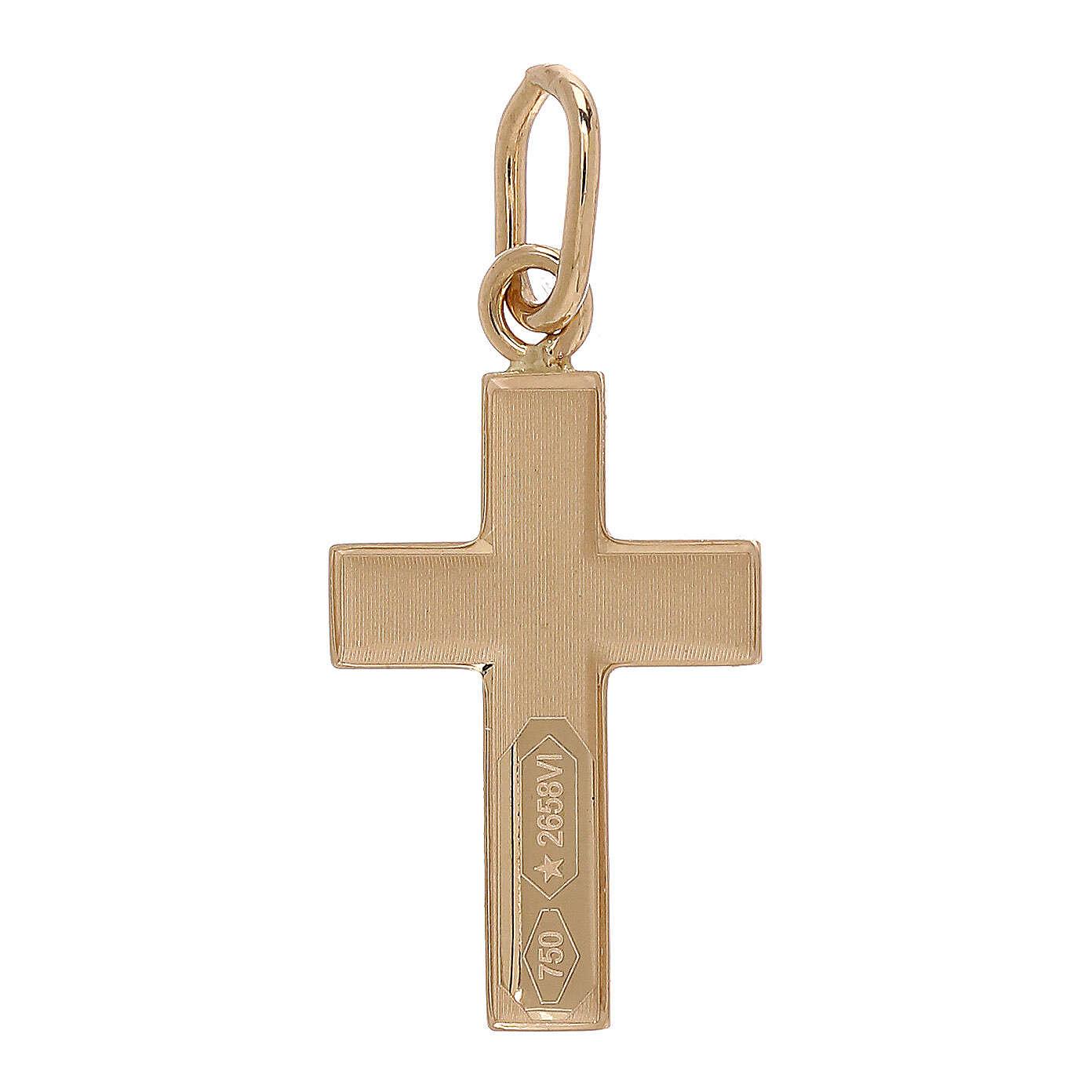 Pendente croce oro giallo bicolore 750/00 0,7 gr 4