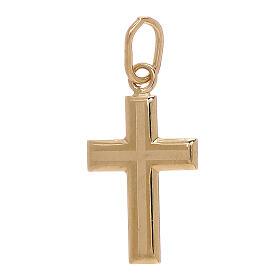 Pendente croce oro giallo bicolore 750/00 0,7 gr s1