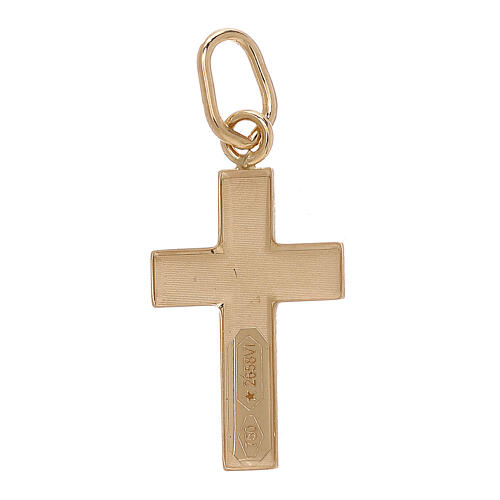 Colgante cruz lámina redondeada Cristo oro bicolor 18 k 2