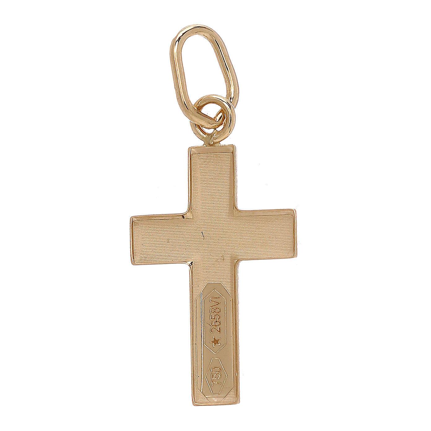 Pendentif croix plaque bombée Christ or bicolore 18K 4