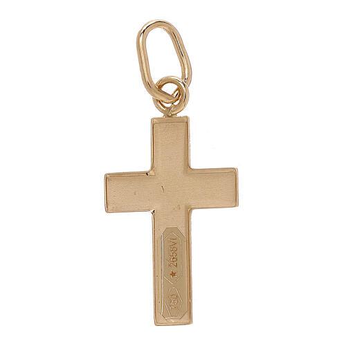 Pingente cruz chapa convexa Cristo ouro bicolor 18K 2