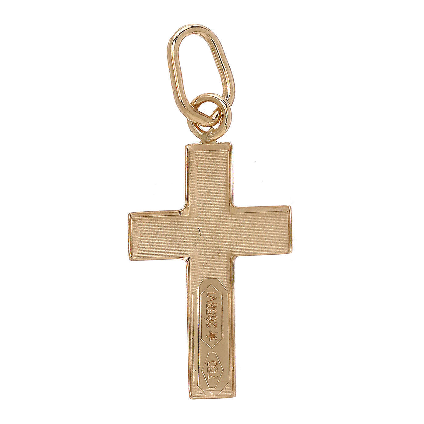 Cross pendant convex sheet Christ 18-carat bicolor gold 4