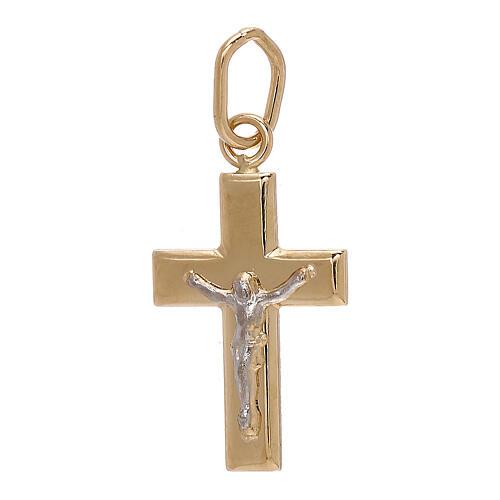 Cross pendant convex sheet Christ 18-carat bicolor gold 1