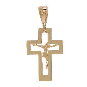Colgante cruz perforada Cristo oro amarillo 750/00 0,65 gr s2