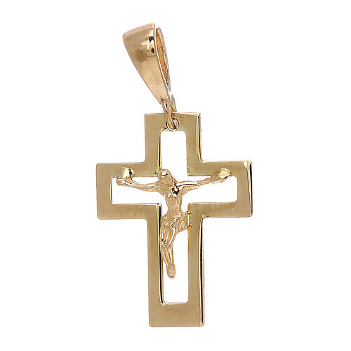 Cross perforated pendant Christ 750/00 yellow gold 0.65 gr 1