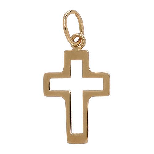 Colgante perfil cruz perforado oro amarillo 18 k 0,35 gr 2
