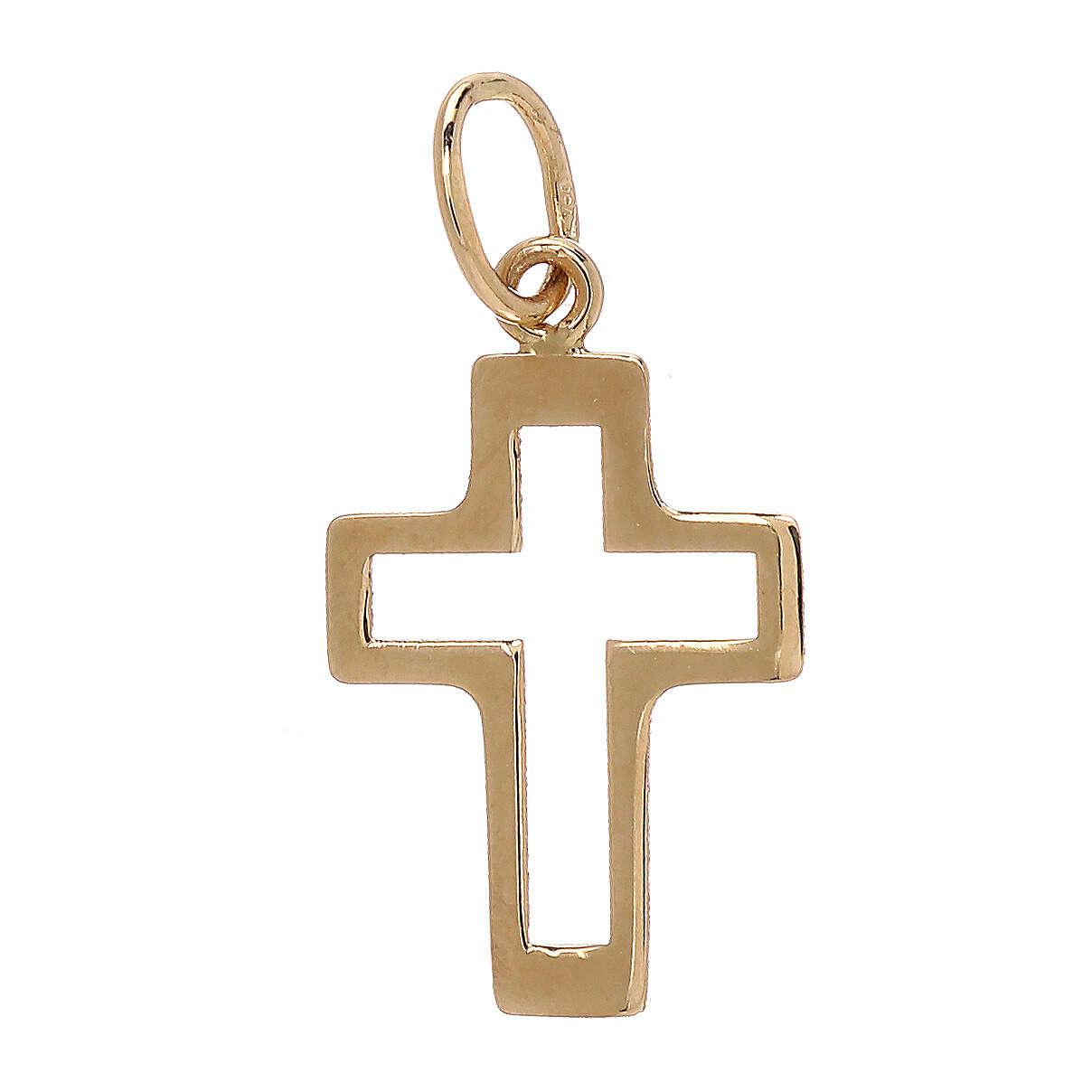 Pendentif silhouette croix ajourée or jaune 18K 0,35 gr 4
