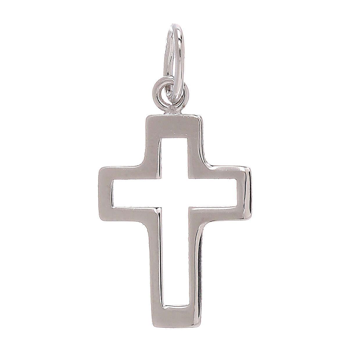 Pendente croce traforata oro bianco 750/00 0,35 gr 4