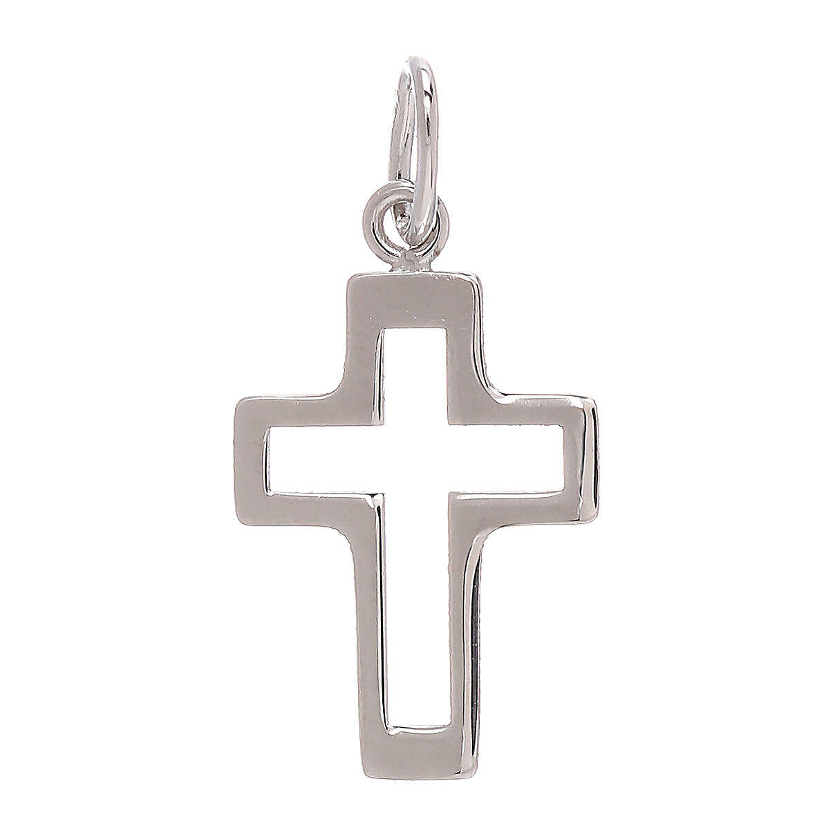 Perforated cross pendant 750/00 white gold 0.35 gr 4