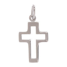 Perforated cross pendant 750/00 white gold 0.35 gr s1