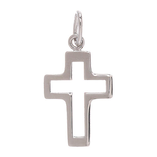 Perforated cross pendant 750/00 white gold 0.35 gr 1