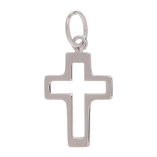 Perforated cross pendant 750/00 white gold 0.35 gr 2