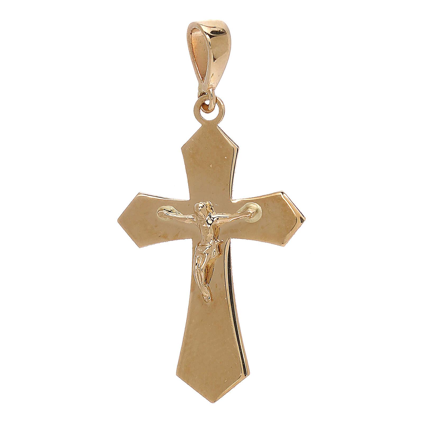 Kruzifix Anhänger Gold 18Kt Spitzen Kreuz 1.2gr 4