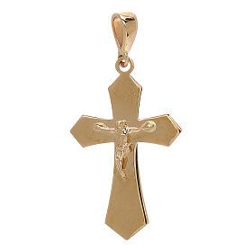 Kruzifix Anhänger Gold 18Kt Spitzen Kreuz 1.2gr s1