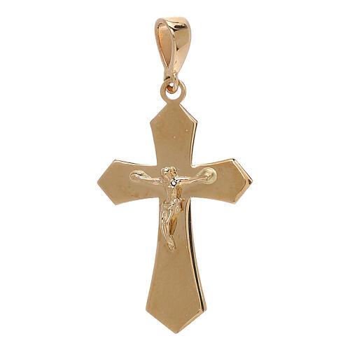 Croce pendente oro giallo 18 carati Cristo 1,2 gr 1