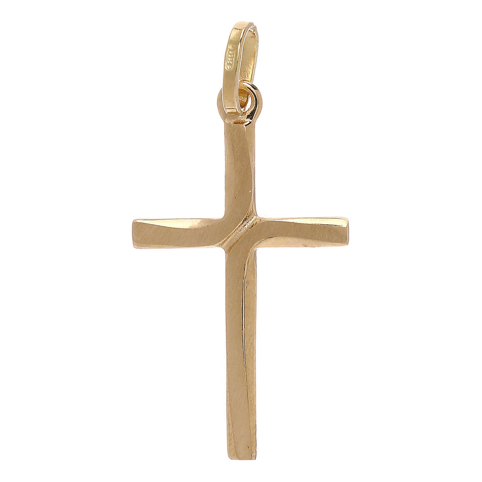 Pendente croce oro giallo 750/00 incrocio satinato 1,1 gr 4