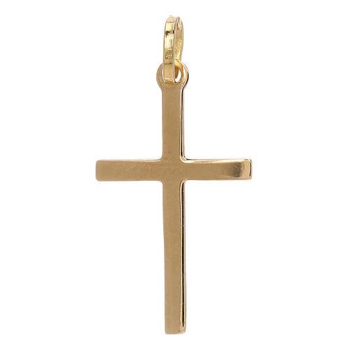 Pendente croce oro giallo 750/00 incrocio satinato 1,1 gr 2