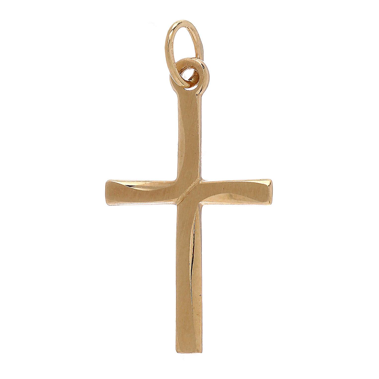 Cruz colgante cruce satinado oro 18 k 0,85 gr 4