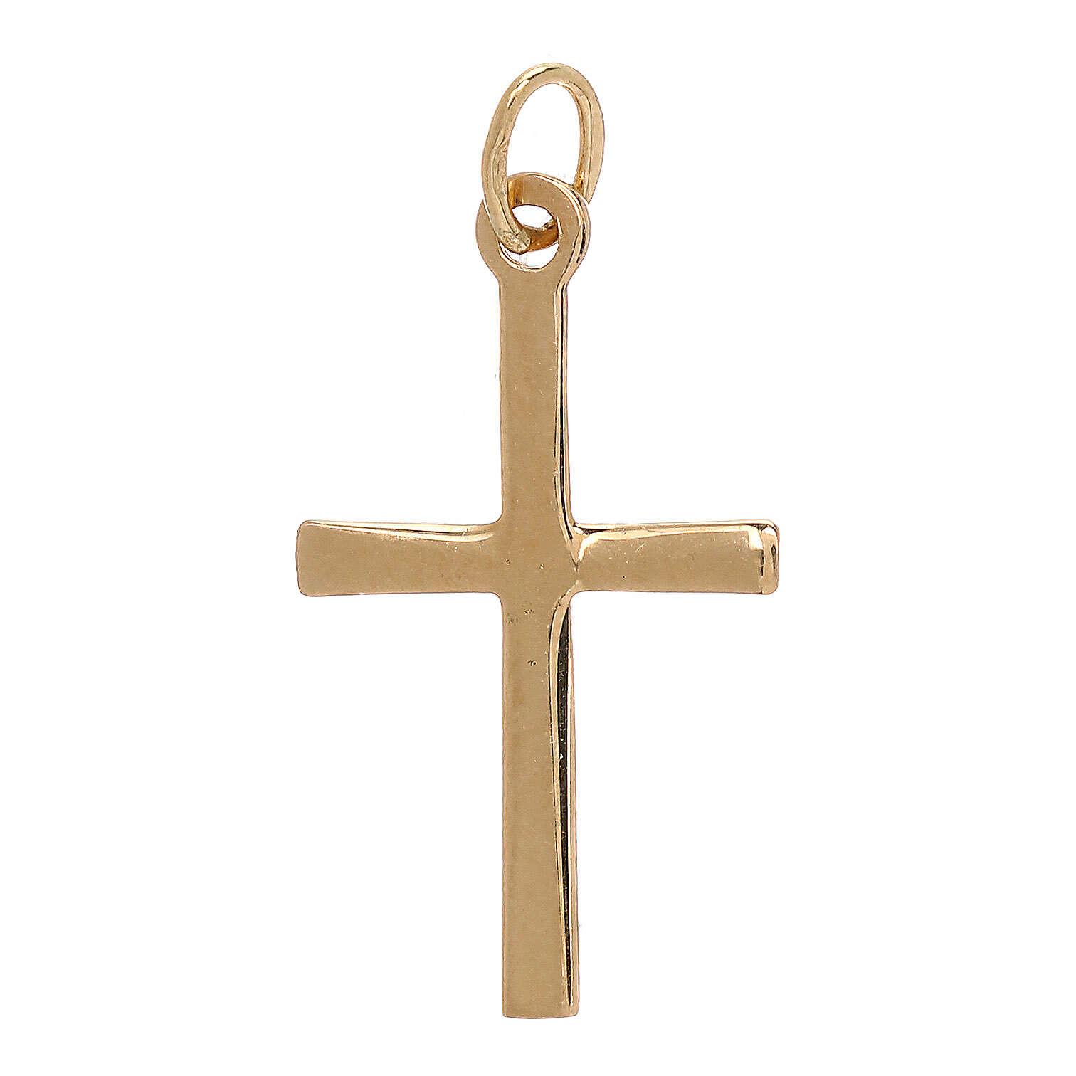 Cross pendant satin-finished line 18-carat gold 0.85 gr 4