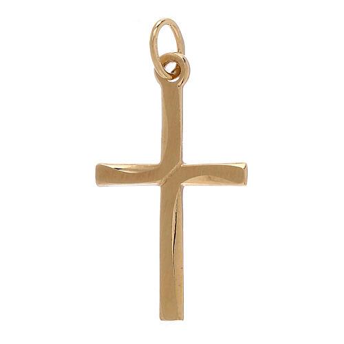 Cross pendant satin-finished line 18-carat gold 0.85 gr 1