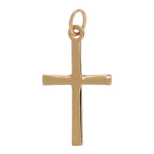 Cross pendant satin-finished line 18-carat gold 0.85 gr 2
