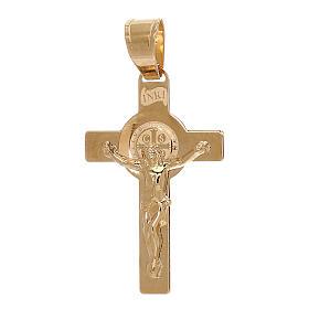 Pendente Croce San Benedetto oro giallo 750/00 1 gr s1