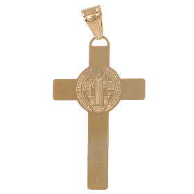 Cruz colgante San Benito láser oro 18 k 2,4 gr s2