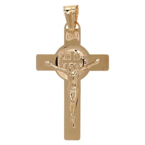 Cruz colgante San Benito láser oro 18 k 2,4 gr 1