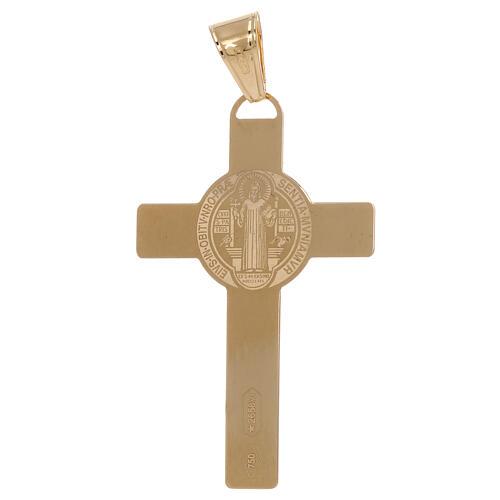 Croce pendente San Benedetto laser oro 18 kt 2,4 gr 2