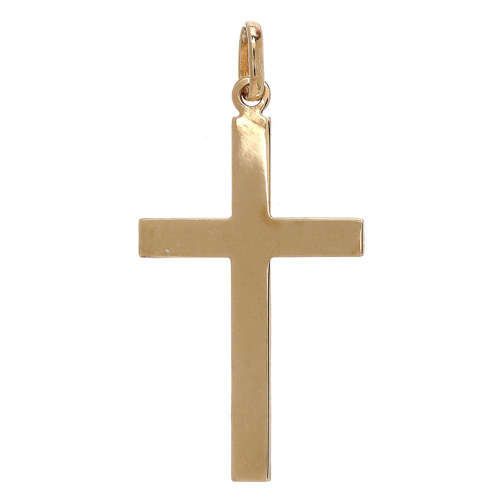 Modern cross pendant embossed pattern 750/00 bicolor gold 1.1 gr 4