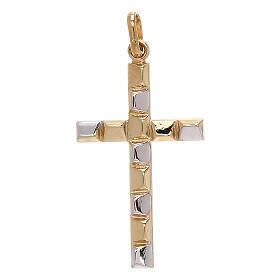 Modern cross pendant embossed pattern 750/00 bicolor gold 1.1 gr s1