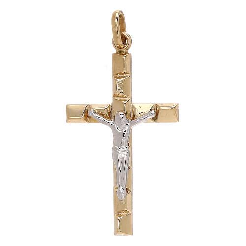 Pendente crocifisso riquadri rilievo bicolore oro 18 kt 1,3 gr 1