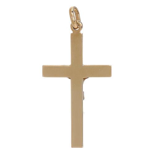 Pendente crocifisso riquadri rilievo bicolore oro 18 kt 1,3 gr 2