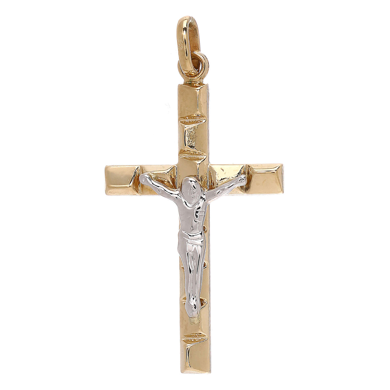 Crucifix pendant embossed squares 18-carat bicolor gold 1.3 gr 4