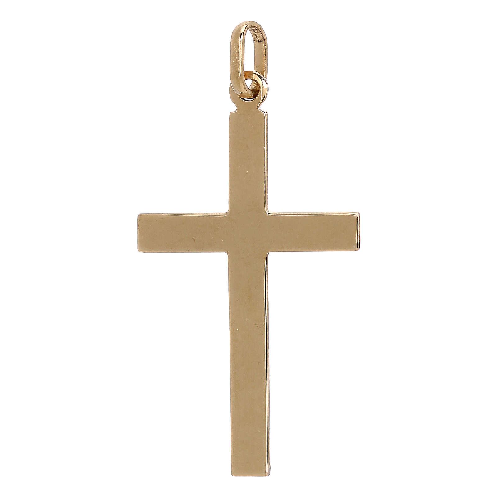 Bicolor cross pendant geometric details 750/00 gold 1.1 gr 4