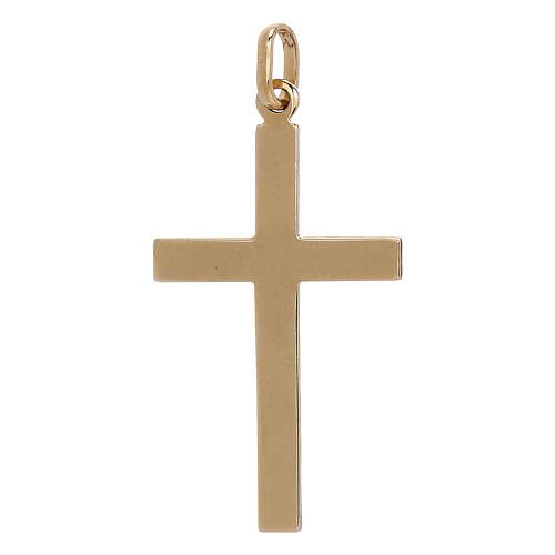 Bicolor cross pendant geometric details 750/00 gold 1.1 gr 2