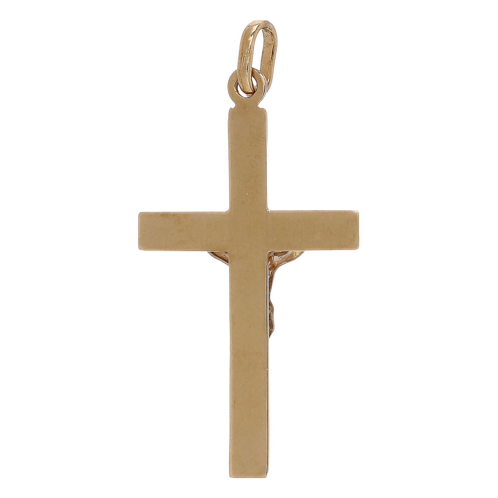 Croix pendentif bicolore relief or 18K 1,2 gr 4