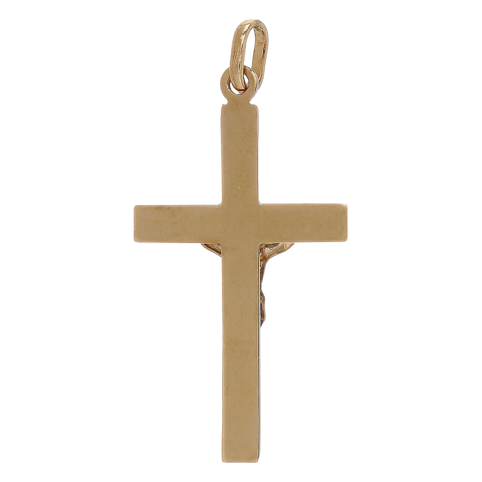 Croce pendente bicolore rilievo oro 18 carati 1,2 gr 4