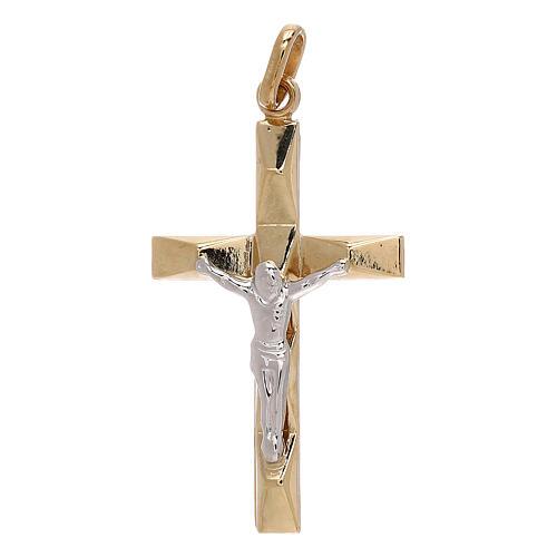Croce pendente bicolore rilievo oro 18 carati 1,2 gr 1