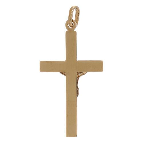 Croce pendente bicolore rilievo oro 18 carati 1,2 gr 2