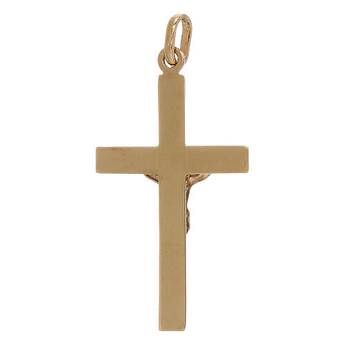Bicolor cross pendant embossment 18-carat gold 1.2 gr 2
