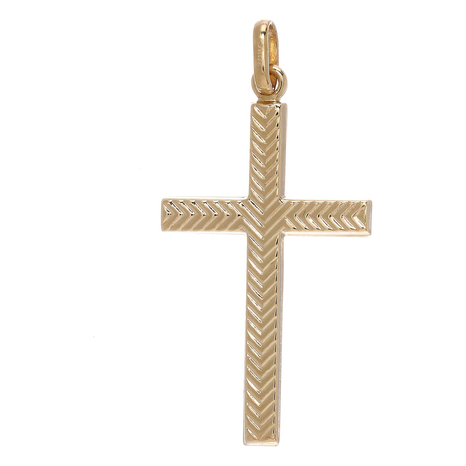 Pendente croce oro giallo 750/00 decoro freccia 1,1 gr 4