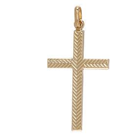 Pendente croce oro giallo 750/00 decoro freccia 1,1 gr s1
