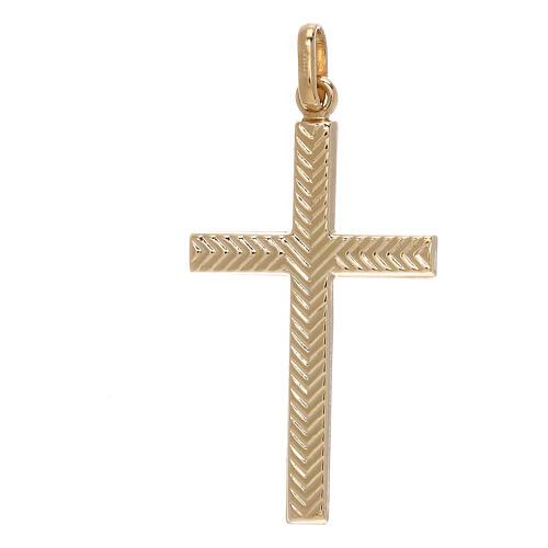 Pendente croce oro giallo 750/00 decoro freccia 1,1 gr 1