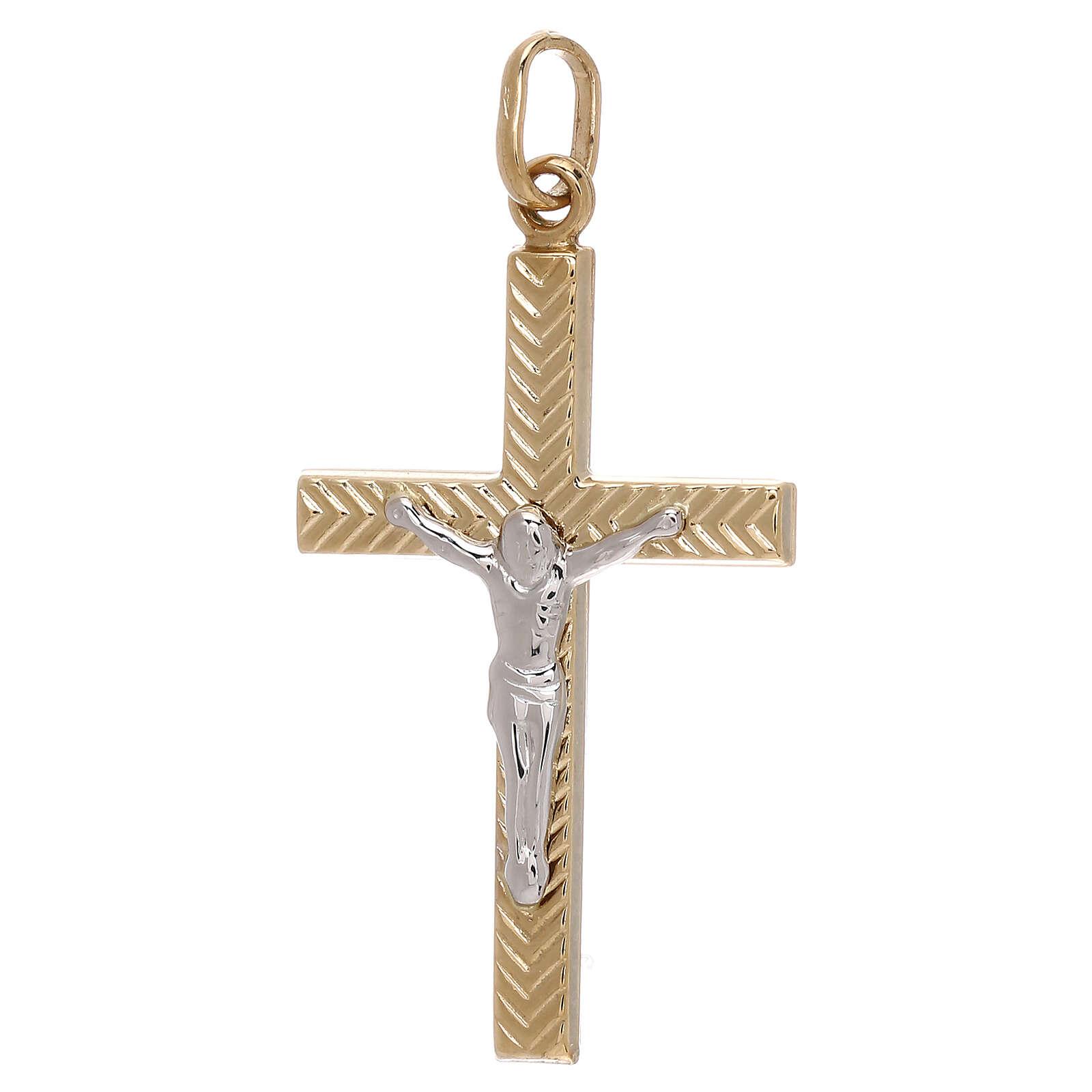 Pendente croce Cristo decoro righe oro 18 kt 1,25 gr 4