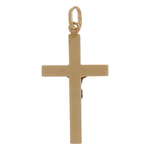 Pendente croce Cristo decoro righe oro 18 kt 1,25 gr 2